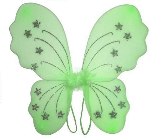 Green Star Nylon Butterfly Wings Dress Up Fairy Fairies Wing - toddler youth princess girls party birthday dress-up costume apparel recital Halloween costumes