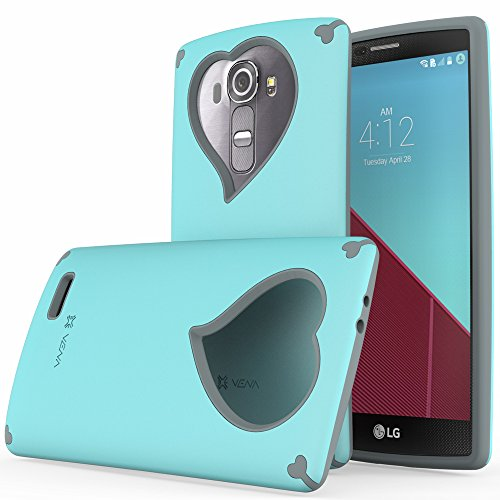 LG G4 Case - VENA [vLove] Heart Shape Valentines Day Case for LG G4 2015 (NOT Compatible with Leather LG G4) (Teal / Gray)