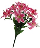Fourwalls Artificial Lily Flowers (9 Flowers, Tall, Dark Pink)