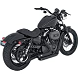 Vance & Hines Shortshots Staggered Exhaust System - Black, Color: Black 47219