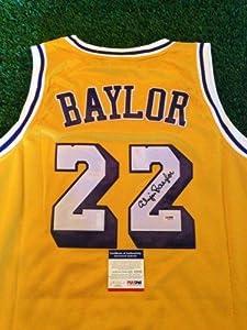 Elgin Baylor Autographed Jersey - COA - PSA DNA Certified - Autographed NBA Jerseys by Sports Memorabilia