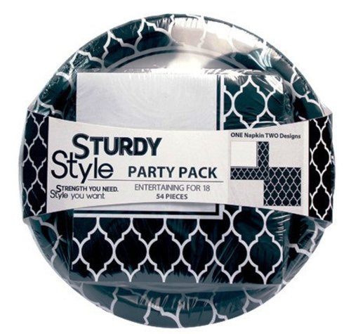 "Creative Converting Sturdy Style Party Pack Paper Plates and Napkins, 18 Plates (10"") and 36 Napkins, Le Vin Noir Black"