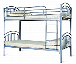 Hampton 3ft Bunk Bed White/blue/black/silver Or Pink-ladder On Right Side Only