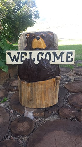 Chainsaw Carved Bear - welcome bear, bear holding welcome sign, bear sculpture, bear carving (Wood Carving Bear compare prices)