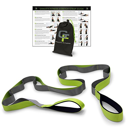 1-Physical-Therapist-Recommended-Gravity-Fitness-Stretching-Strap-Premium-Quality-Multi-loop-Stretch-Out-Strap-Neoprene-Padded-Handles-12-Loops-15-W-x-8-L