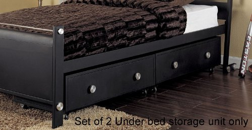Cheap Set of 2 Kids Under Bed Storage Drawers in Textured Black Finish – Z-Bedroom Collection (AZ00-46880×21231)