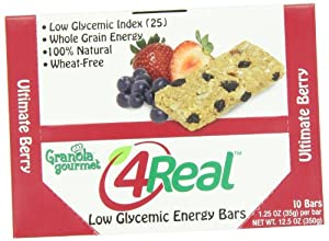 Granola Gourmet 4Real Low Glycemic Energy Bars -Ultimate Berry, 10-Count Bars