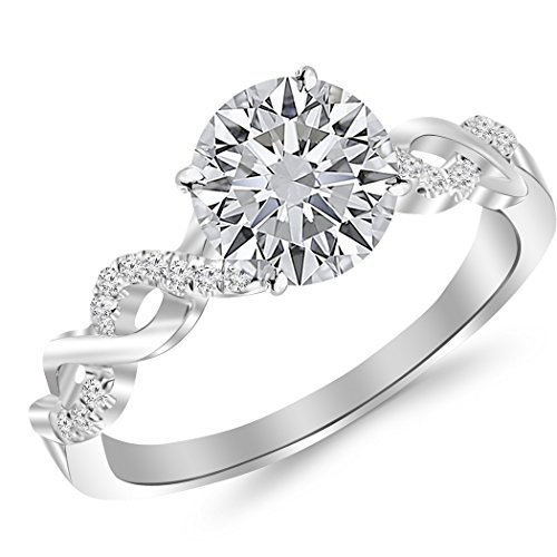 2.13 Carat t.w. Twisting Infinity Gold and Diamond Split Shank Pave Set Diamond Engagement Ring with a 2 Ct Forever Brilliant Round Moissanite Center