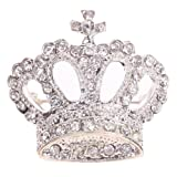 Yazilind Jewelry Sweet Silver Crown Brooches and Pins Shining Full Crystal for Women Gift Idea