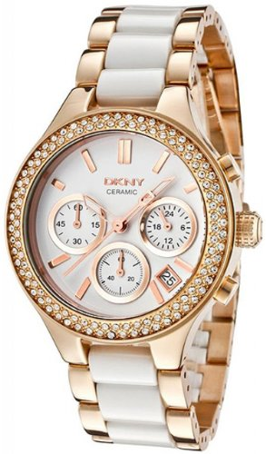 DKNY Ceramic Link Rose Gold-plated Ladies Watch