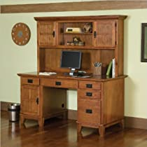 Big Sale Best Cheap Deals Home Style 5180-184 Arts and Crafts Double Pedestal Desk and Hutch, Cottage Oak Finish