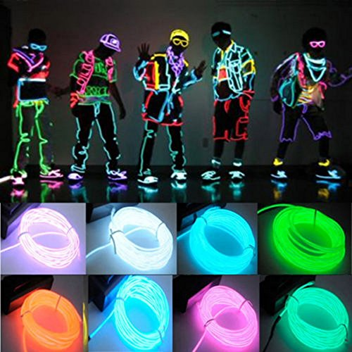 Flexible 3M EL Wire Rope For Party Dance Car Decor Neon Light Glow With Controller Different Colors to Choose