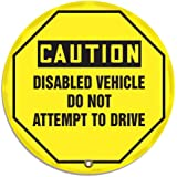 """Accuform Signs KDD812 STOPOUT Vinyl Steering Wheel Message Cover, OSHA-Style Legend """"CAUTION DISABLED VEHICLE DO NOT ATTEMPT TO DRIVE"""", 16"""" Diameter, Black on Yellow"""