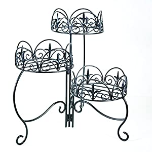 Panacea Products 3-Tier Folding Classic Finial Plant Stand, Black