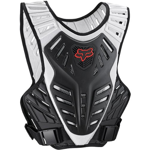 Fox Racing  Titan Race Subframe Men's Roost Deflector MX/Off-Road/Dirt Bike Motorcycle Body Armor - Black/Silver / Medium/Large
