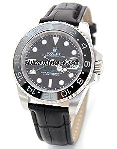 20mm Classic Black Crocodile Grain Leather Watch Strap For Rolex GMT-Master II