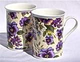 Fine English Bone China Mugs - Pansy Basket Chintz on Pale Yellow - Set of Two