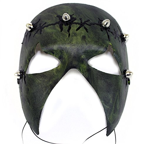 Barbarian Green Hand-Painted Scary Men's Masquerade Mask