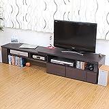 テレビボード 46インチまでの大型プラズマ・液晶テレビ が設置可能。 おしゃれ 部屋 テレビ台 伸縮式 TV台 AVボード ダークブラウン の中古画像