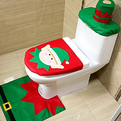 Starmo-Novelty-Christmas-Xmas-Decoration-Elf-Toilet-Seat-Cover-Rug-Tissue-Box-Cover-Bathroom-Set