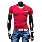 img - for Men Summer Casual Button V Neck Slim Muscle Tops Tee T Shirt Cotton 1995 print (M, Red) book / textbook / text book