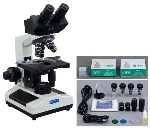 Omax 40X-2000X Digital Binocular Biological Compound Microscope With Built-In 3.0Mp Usb Camera And Double Layer Mechanical Stage And 100 Pieces Glass Slides And Covers