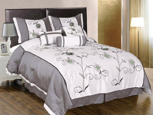 7 pieces white with grey and green embroidered lily comforter set bed in a bag queen size bedding. Black Bedroom Furniture Sets. Home Design Ideas
