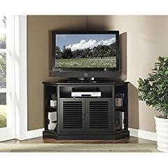 WE Furniture 52-Inch Wood Console Corner TV Stand, Black