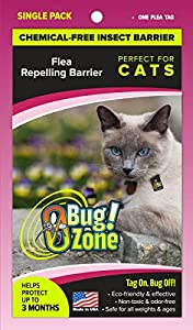 0Bug!Zone 1 Piece Flea Barrier Tag for Cats