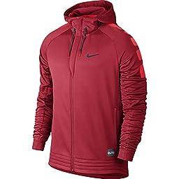 Nike Mens Elite Stripe Basketball Hoodie Sweatshirt University Red/Light Crimson 684172-657 Size Large