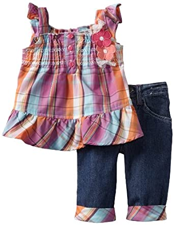 Young Hearts Baby-Girls Infant Ruffle Woven Top and Denim Pant Set, Pink Doll, 12 Months