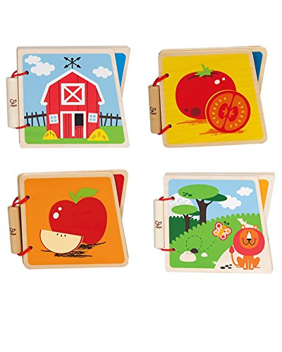 Hape Farm, Zoo, Vegetables and Fruit Wooden Baby Books - 1