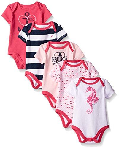 Nautica Baby Girls' 5 Pack Bodysuits, Fuchsia, 6-9 Months
