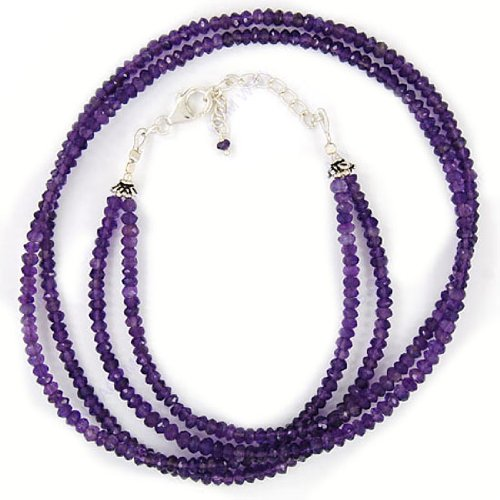 925 Sterling Purity Silver Amethyst 3 mm Natural Gemstone Beads 2 Strand 21 Inches Necklace Jewelry