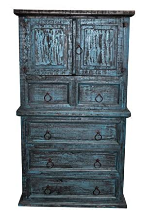Rustic Western Mansion Turquoise Scraped Finish Chest Of Drawers Real Wood
