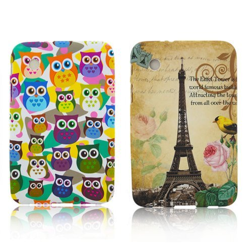 Samsung Galaxy Tab 2 P3100 P3110 P6200 TPU 2x SET Paris + Kleine Eule Design Schutz Handy Hülle Case Tasche Etui Bumper thematys®