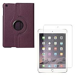 DMG PU Leather 360 Degrees Rotating Stand Case for Apple iPad Mini / Mini 2 / iPad Mini 3 (Purple) + Tempered Glass Screen Protector