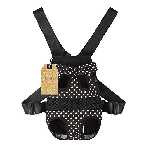 Gwood-Hundetrage-Puppy-Bag-Hundetasche-Haustier-Umhnge-Tragetasche-Transporttasche-fr-Hunde-Katzen-Schwarz-Polka-dots-M