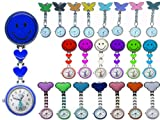QUALITY QUARTZ NURSE DOCTORS, MIDWIVES POCKET FOB WATCH SMILEY FACE - MICKEY - BUTTERFLY STAINLESS STEEL