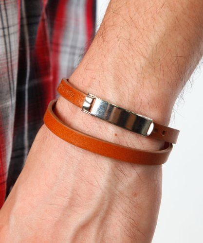 (Men's style) MENZ-STYLE accessory bracelet Bangle men's season 2 イタリアンレザーバングル camel