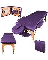 Table de massage pro luxe - Massage Imperial - Portable - Plateau 2 Pièces - Panneaux Reiki - Légère - Couleur : Violet