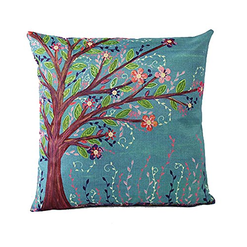 "Sunlightsell Colorful Tree of Life Cotton Linen Square Decorative Fashion Throw Pillow Cases17.3 ""X17.3 ""(B3)"