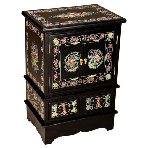 Cheap EXP Handmade Asian Furniture – 28″ Black Lacquer Storage Cabinet / End Table With Painted Flowers (B001B16IH6)