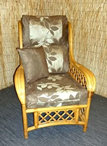 Luxury Cushion Covers for Cane Wicker and Rattan Conservatory and Garden Furniture - Brown Faux Suede & Jacquard Leaves - RRP £79.99 by Zippy UK