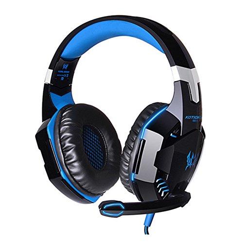 OFT Universal EACH G2000 Gaming Stereo Headset PC LED Light Game Kopfhörer mit USB-Stecker und Mikrofon für PC Laptop Skype Gamer (schwarz+blau)