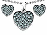 Star K Simulated Aquamarine Heart Shape Love Pendant matching earrings