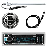 Kenwood MP3/USB/AUX Marine Boat Yacht Stereo Receiver Player Bundle Combo w/ RC35MR Wired Remote Control, Enrock Water Resistant 22