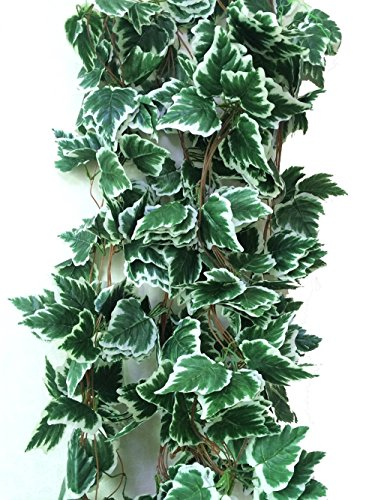 Yatim 98 Inches White Grape Ivy Artificial Greenery Chain Plant Garland Leaves Wall Decoration For Wedding Home Indoor Garden outside Set of 5 (Green Artificial Grapes compare prices)