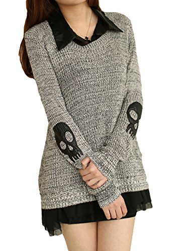 Tp Sky Women 2Pcs Skull Loose Pullovers Knitted Sweater + Chiffon Blouse M Gray