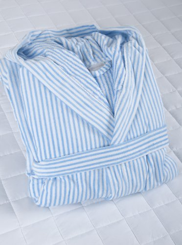 White/ Blue Stripe Velour Hooded Men's BathRobe XXL